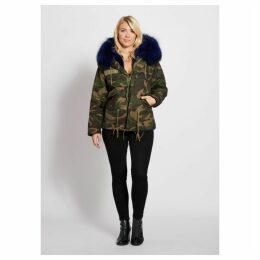 Popski London Camouflage Parka With Navy Fur Collar And Faux Lining