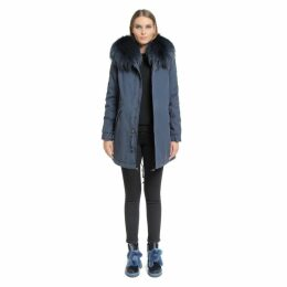 Mr & Mrs Italy Night Sky Parka Midi Canvas Mink Finnraccoon Fur