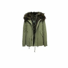 Mr & Mrs Italy Army Mini Parka Patch Coyote Raccon Fur