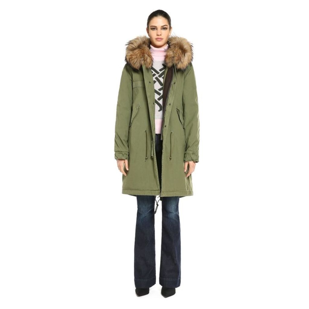 Mr & Mrs Italy Army Parka Quilt Racoon Fur