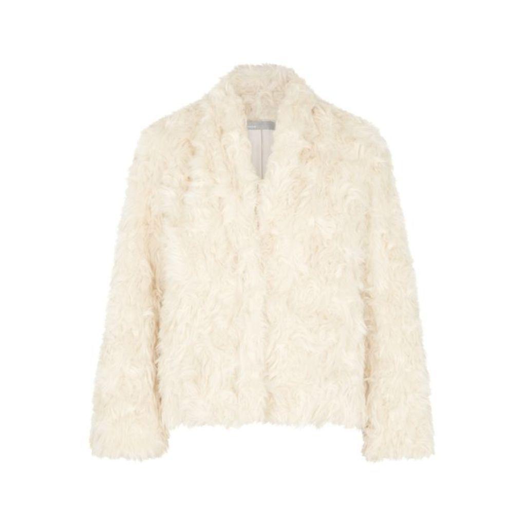 Vince Cream Faux Fur Jacket