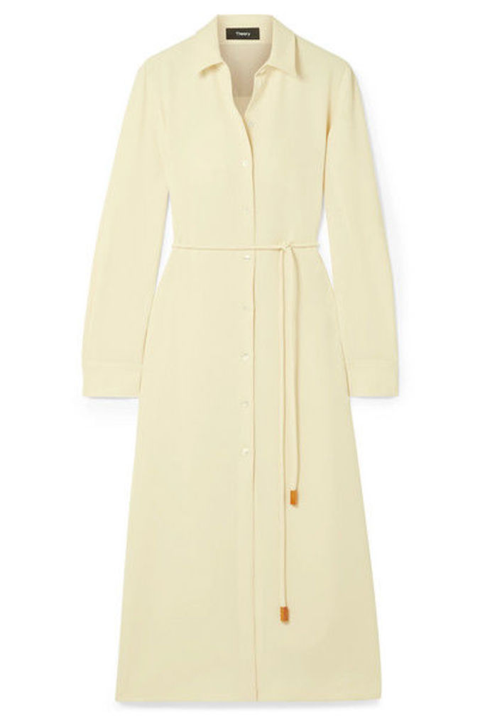 Theory - Belted Crepe De Chine Midi Dress - Ivory