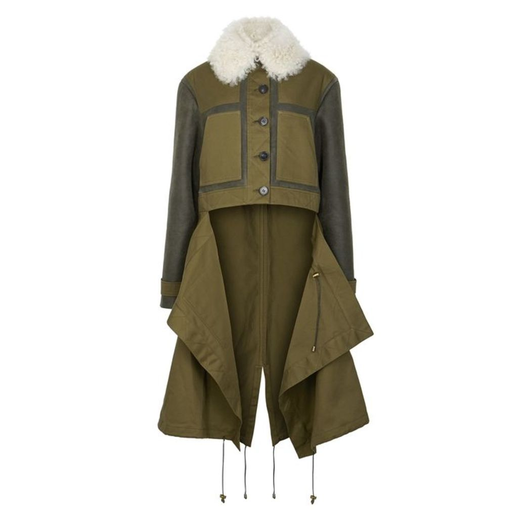 MONSE Olive Shearling-trimmed Twill Coat