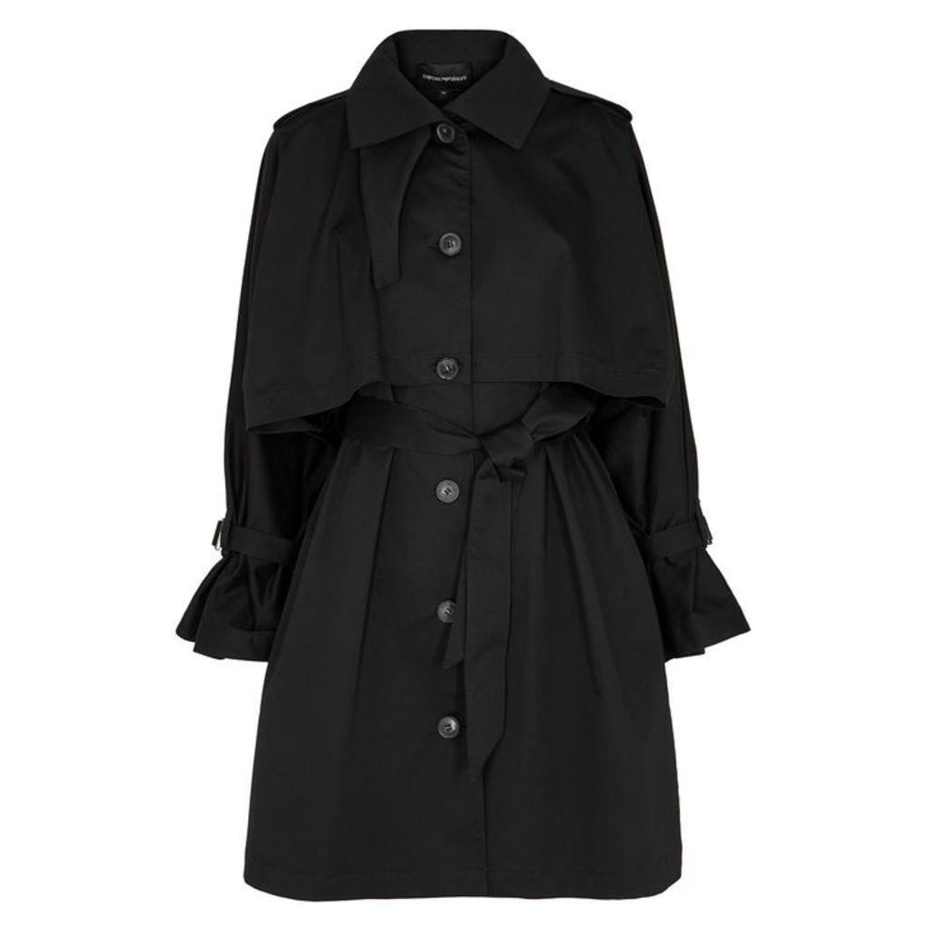 Emporio Armani Black Stretch-cotton Coat