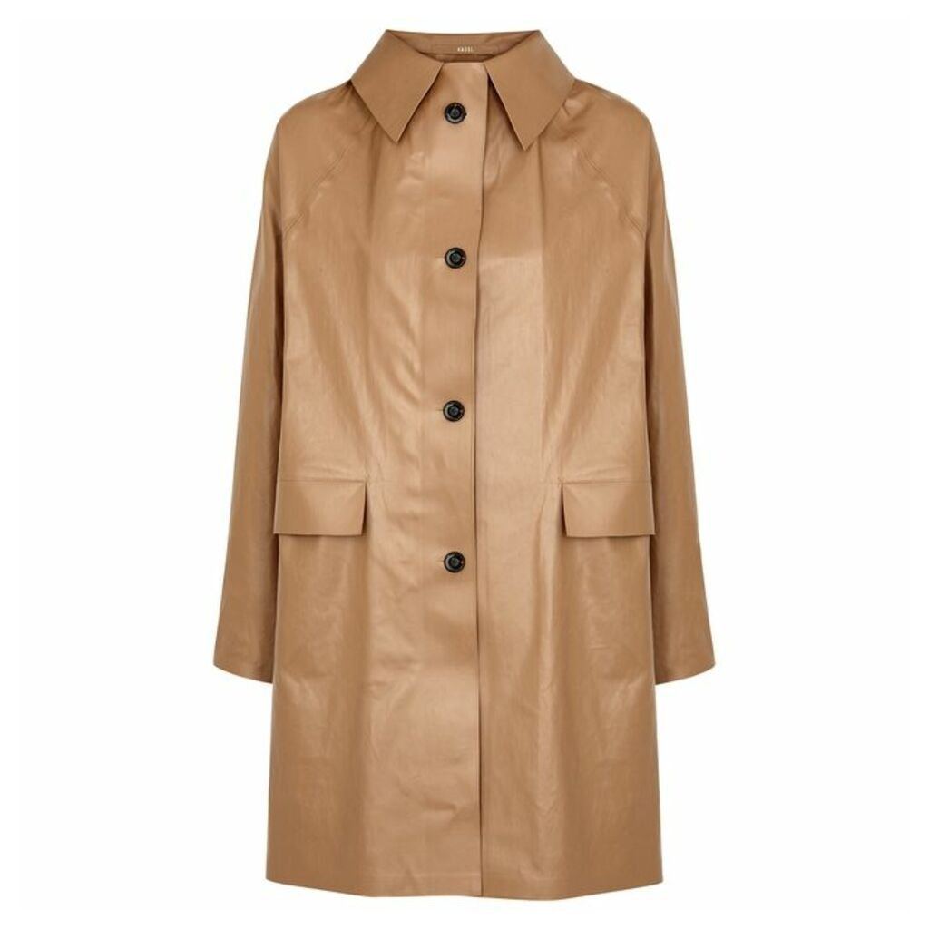 KASSL Mocha Coated Cotton-blend Coat