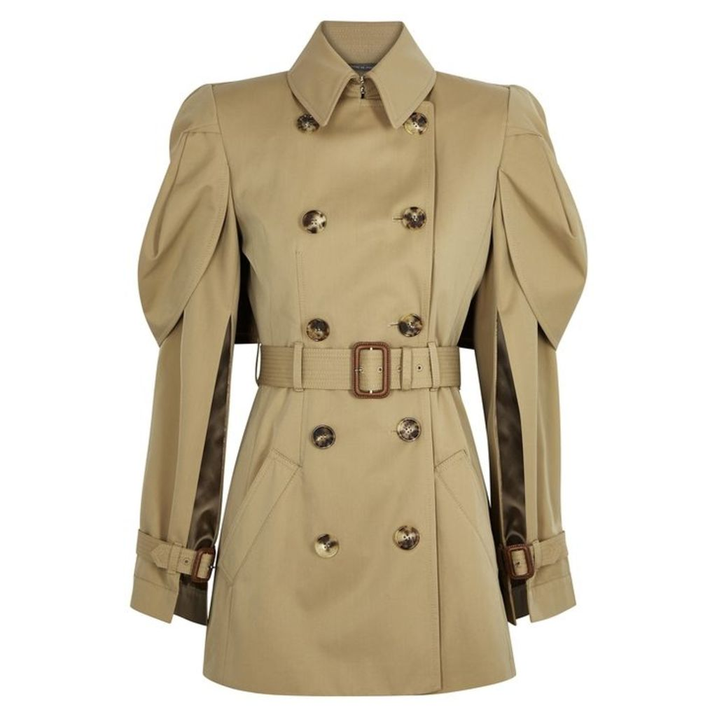 Alexander McQueen Taupe Cape-back Gabardine Trench Coat