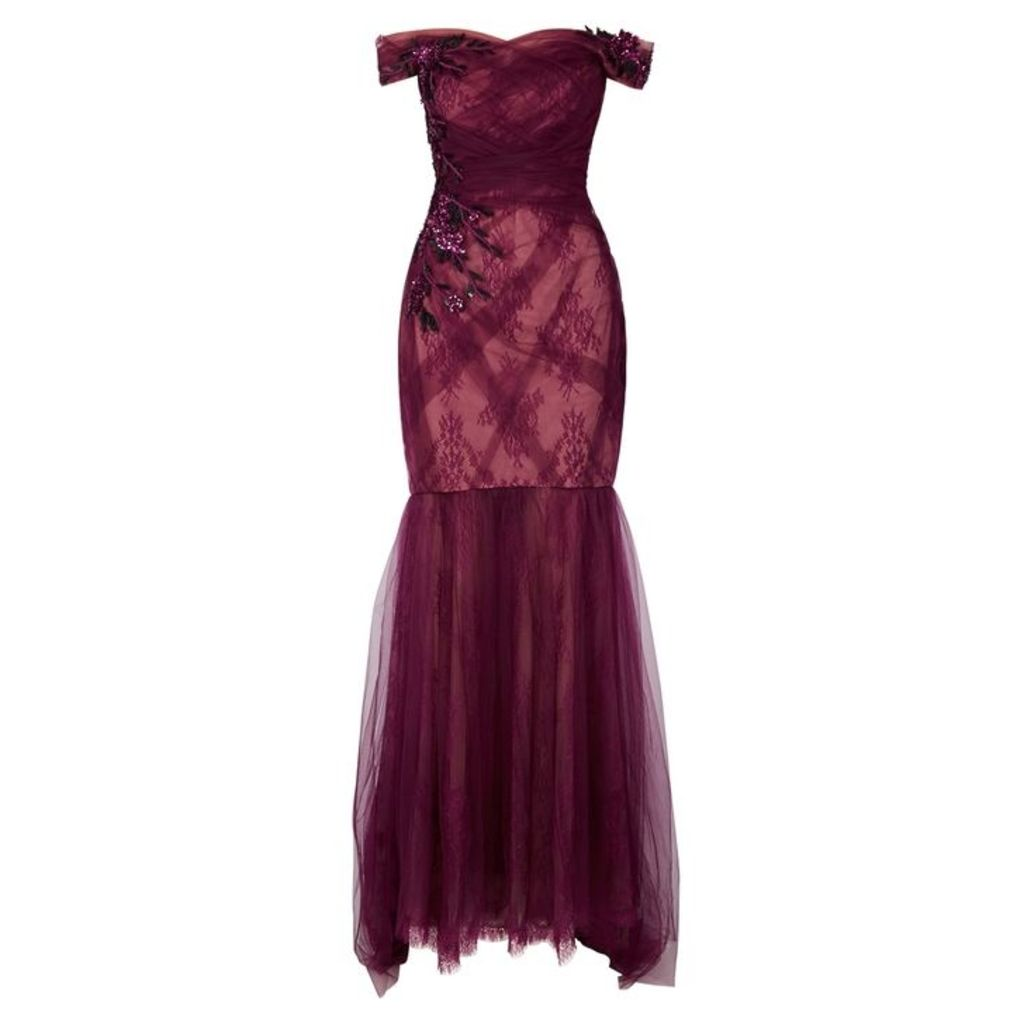 Pamella Roland Burgundy Embellished Lace And Tulle Gown