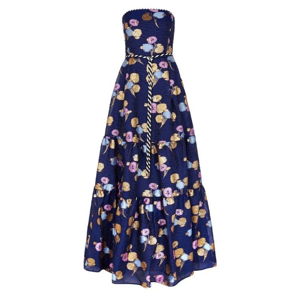Peter Pilotto Blue Jacquard Organza Gown