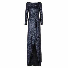 Roland Mouret Sarandon Blue Sequinned Gown