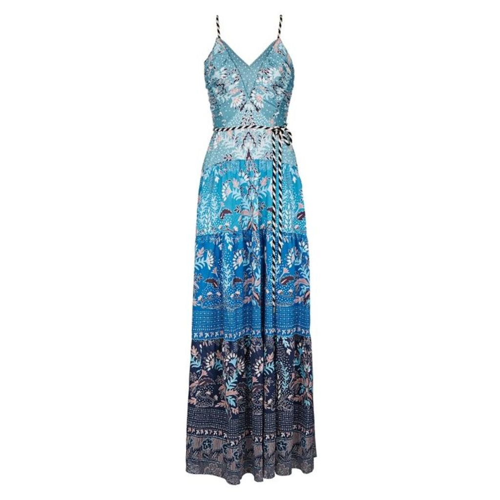 Peter Pilotto Blue Printed Stretch-silk Gown