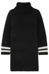 Madewell - Striped Merino Wool Turtleneck Mini Dress - Black