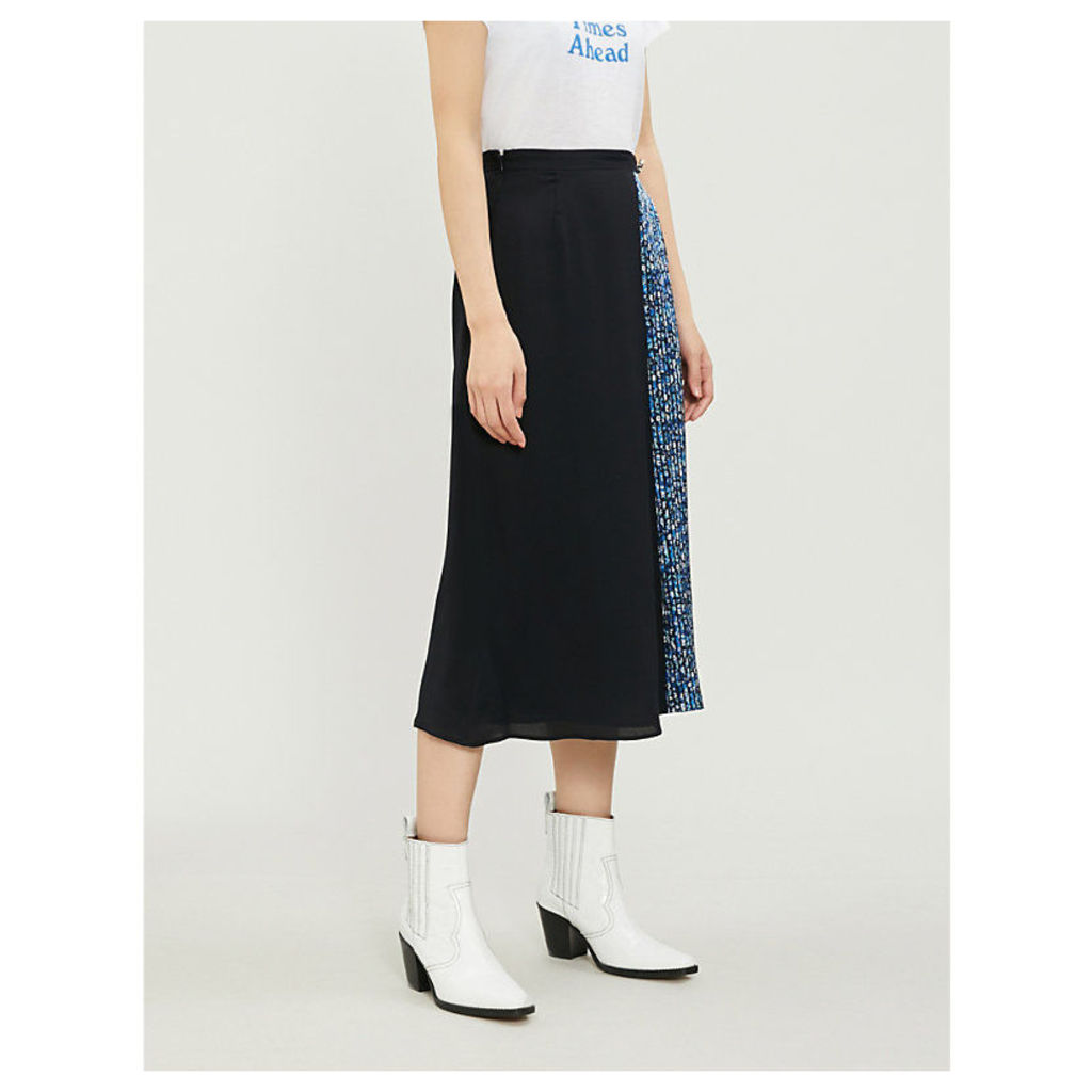 Sweden patchwork-print georgette skirt