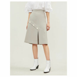 Slash crepe midi skirt