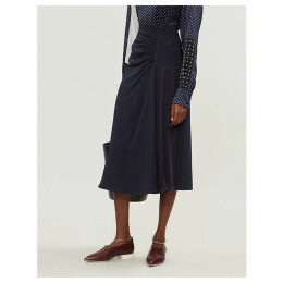 Sahara high-waist pleat-panelled satin midi skirt