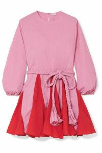 Rhode - Ella Two-tone Belted Cotton Mini Dress - Pink