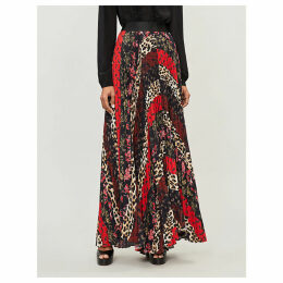 Patchwork-print flared pleated skirt