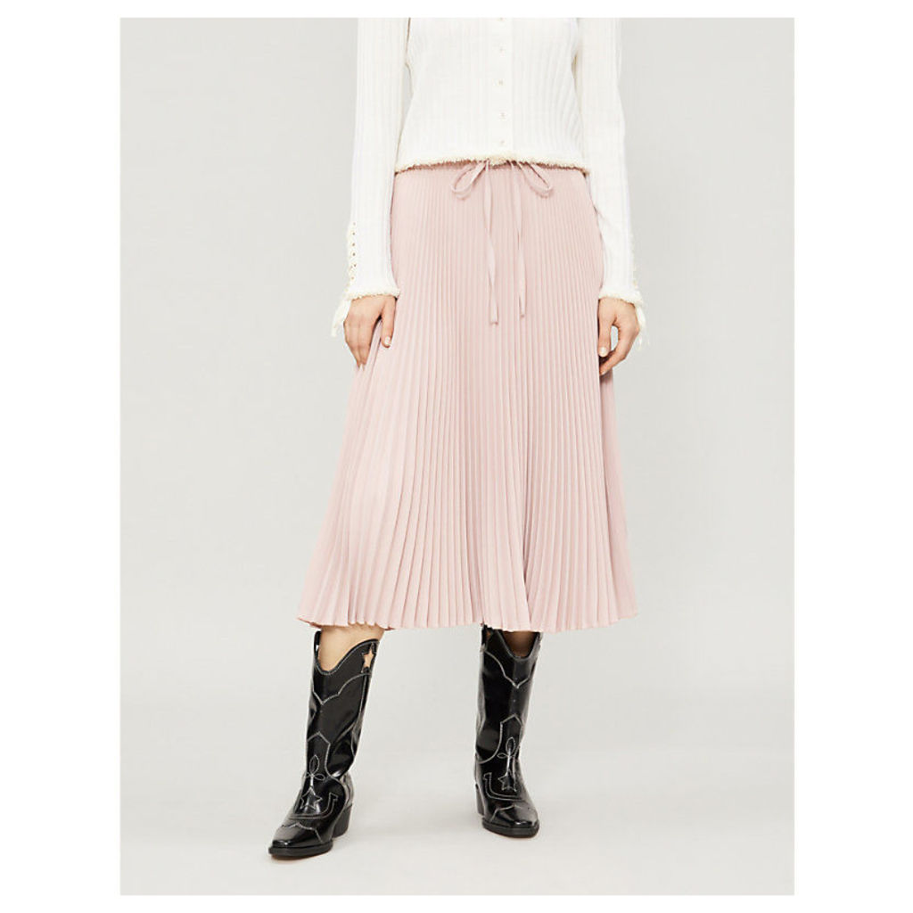 Pleated stretch-crepe midi skirt