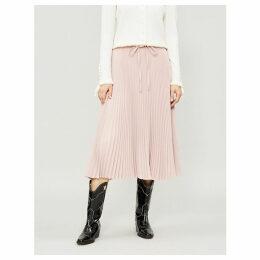 Pleated stretch-crepe midi skirt