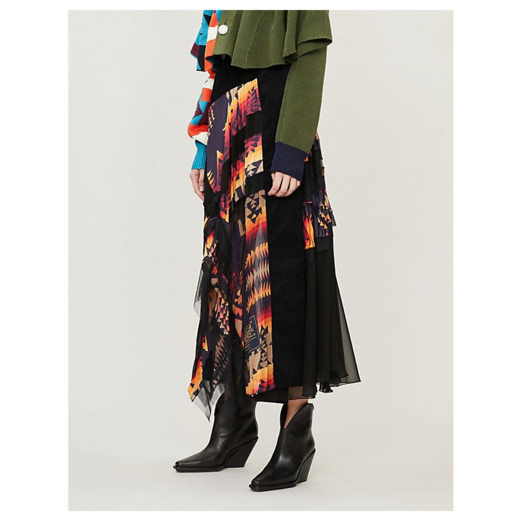 Pendleton-print lace-trimmed crepe skirt
