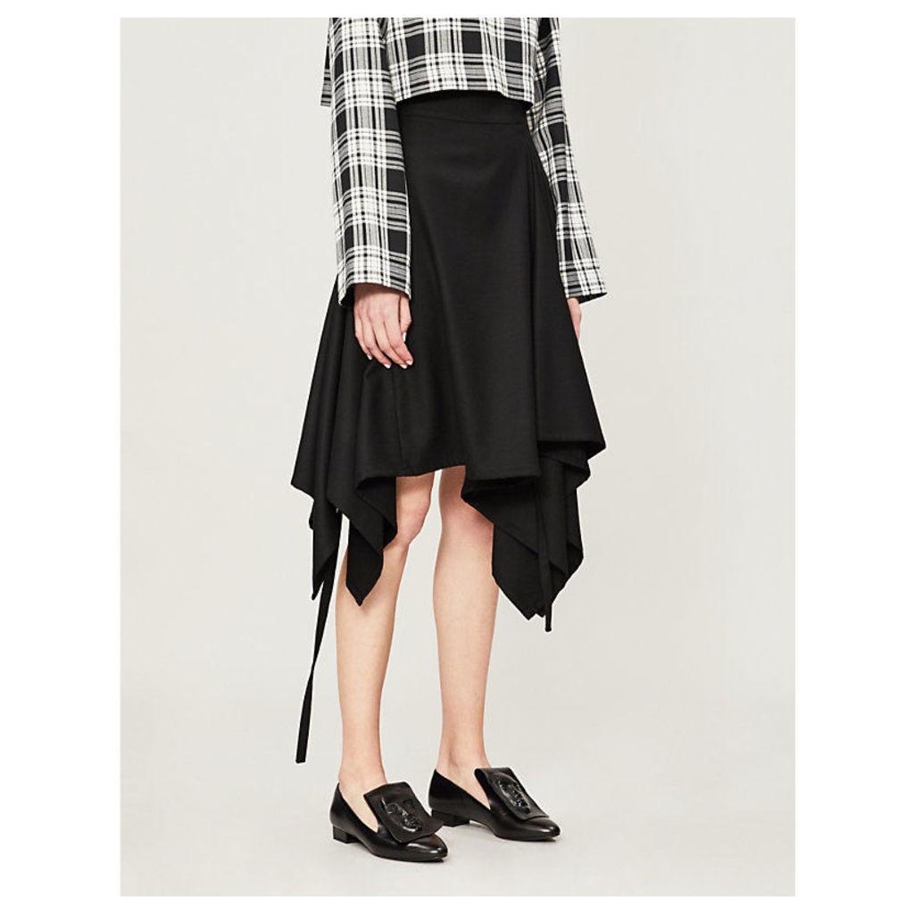 Asymmetric draped wool skirt