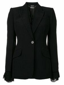 Alexander McQueen lace-trimmed blazer - Black