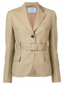 Prada belted single-breasted blazer - Neutrals