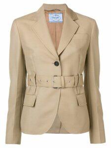 Prada belted single-breasted blazer - Neutrals