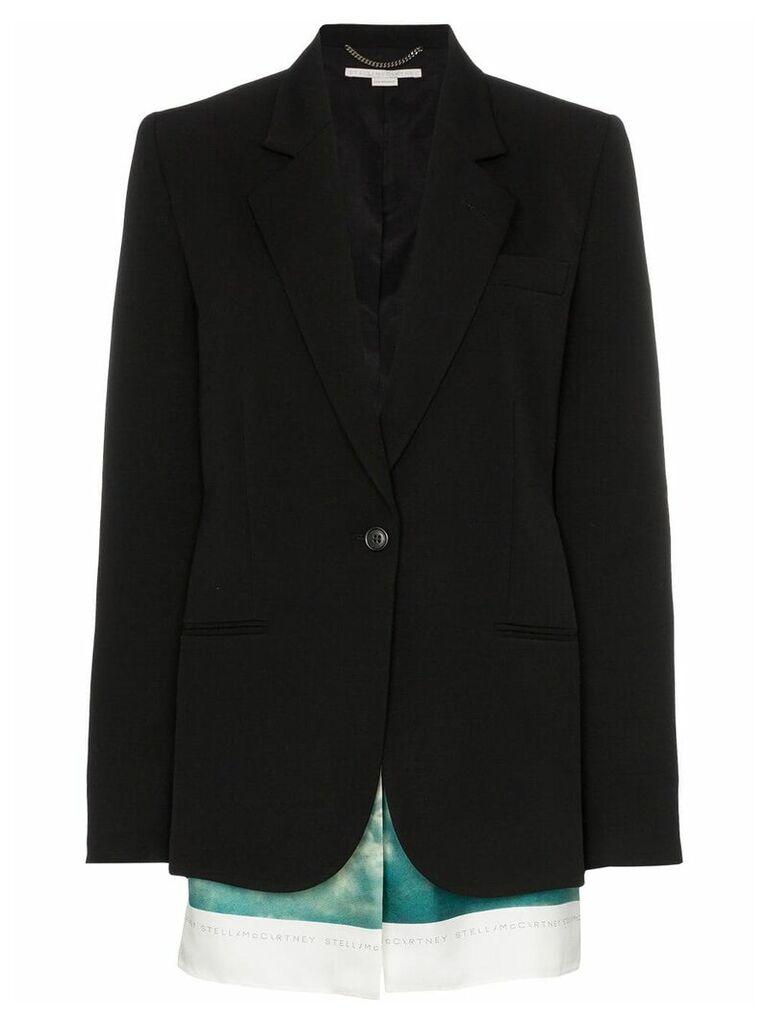 Stella McCartney Slashed wool blazer with printed cotton-blend scarf