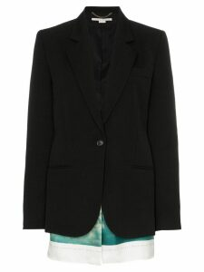 Stella McCartney Slashed wool blazer with printed cotton-blend scarf