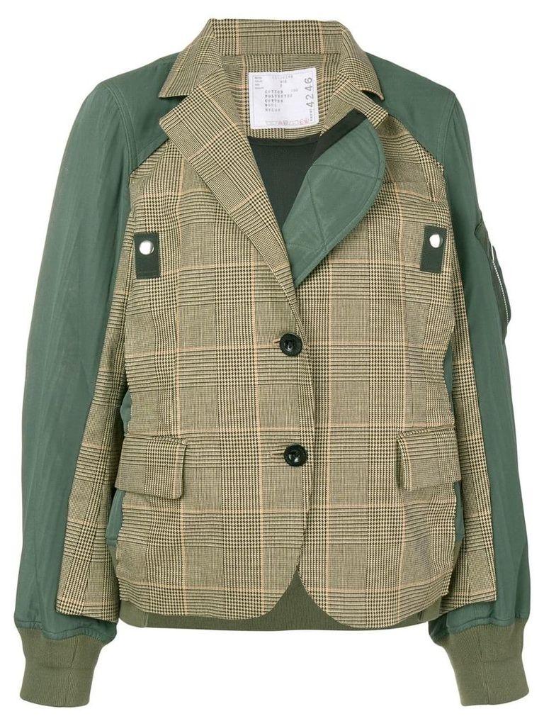 Sacai hybrid check blazer bomber jacket - Green