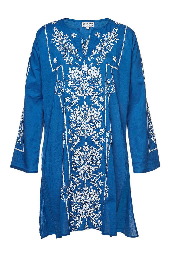 Juliet Dunn Cotton Kaftan with Lotus Embroidery