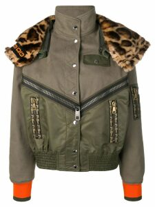 Dolce & Gabbana leopard print panelled bomber jacket - Green