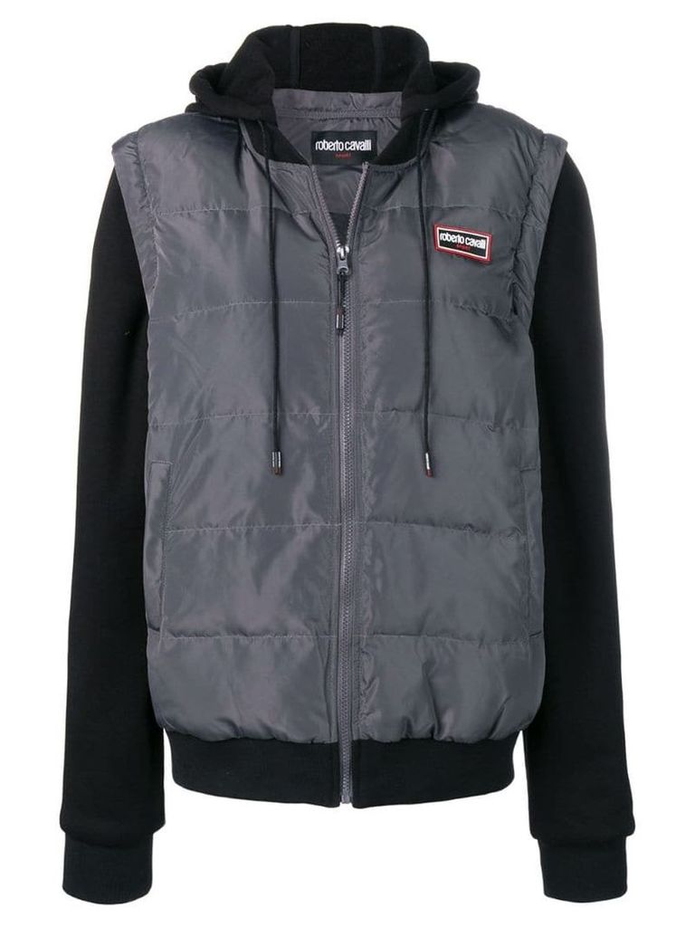 Roberto Cavalli logo patch down jacket - Grey