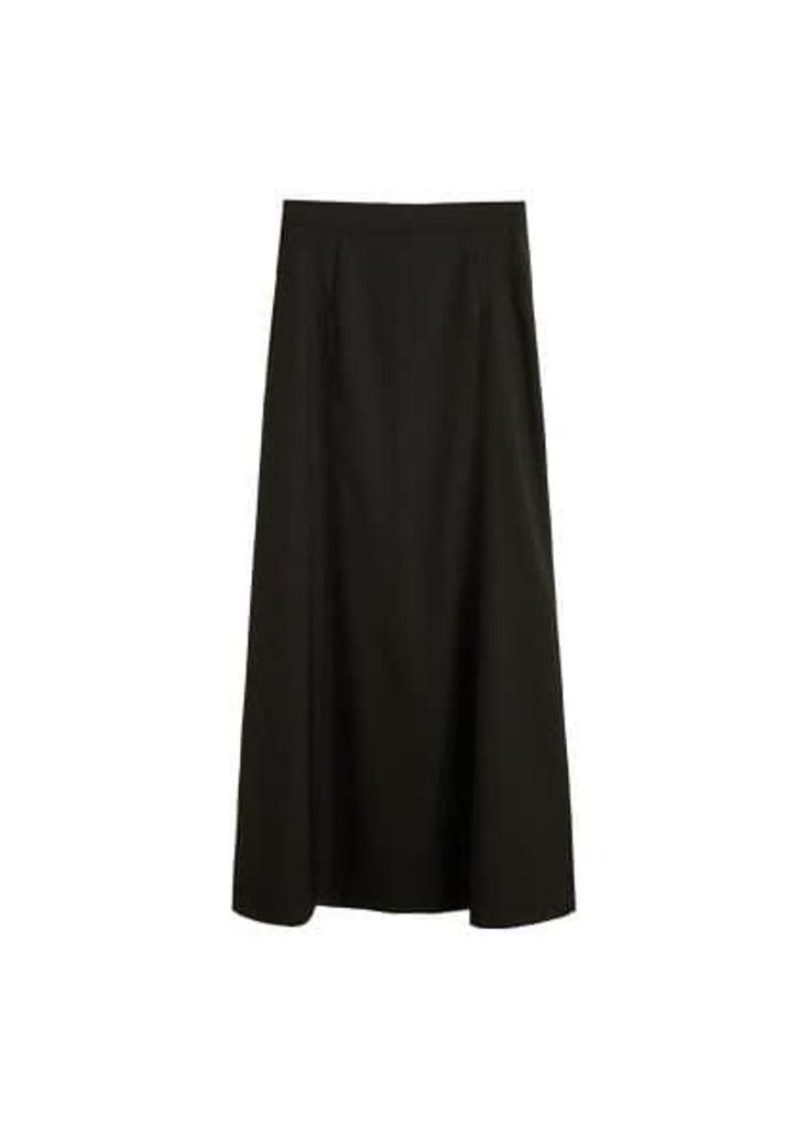Pleat detail long skirt