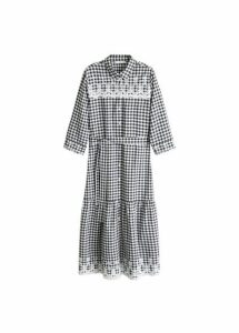 Embroidered vichy check dress