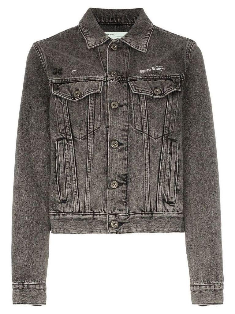 Off-White bleached caban denim jacket - Grey