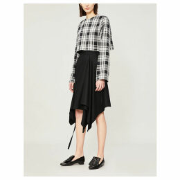 Checked wool crop top
