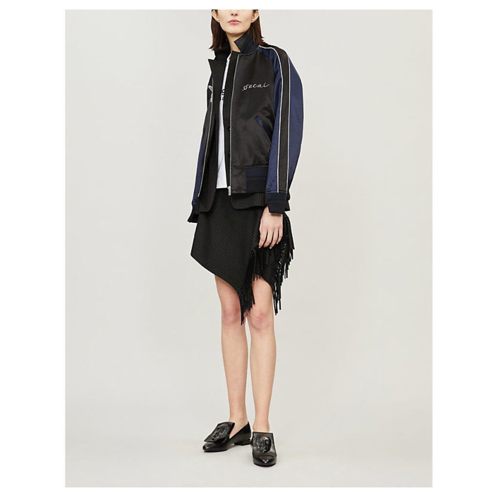 Deconstructed blazer-lined cotton-blend bomber jacket