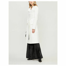 Topstitched-panel stretch-cotton coat