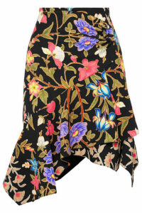 Peter Pilotto - Asymmetric Floral-print Cloqué Skirt - Black