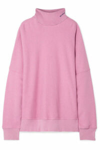 CALVIN KLEIN 205W39NYC - Oversized Embroidered Distressed French Cotton-terry Turtleneck Sweatshirt - Baby pink