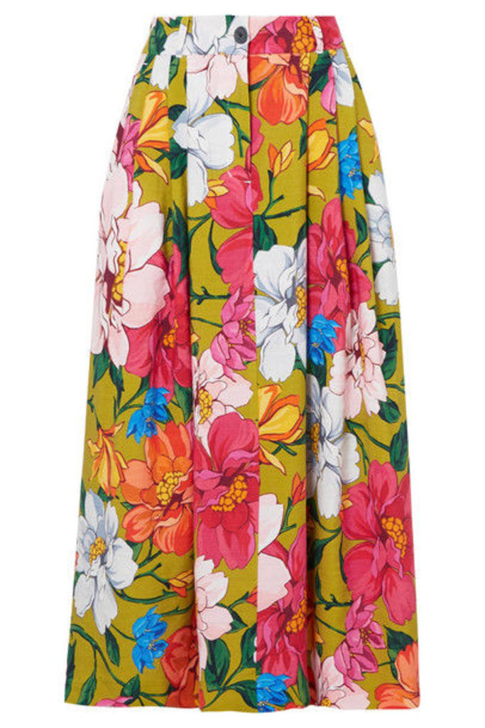 Mara Hoffman - Tulay Pleated Floral-print Tencel And Linen-blend Maxi Skirt - Sage green