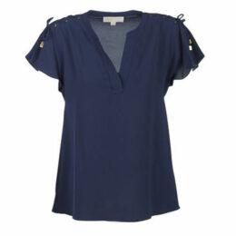 MICHAEL Michael Kors  S/S LACEUP SHLDR TP  women's Blouse in Blue
