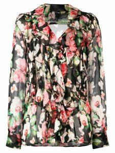 Philipp Plein floral logo print blouse - Black