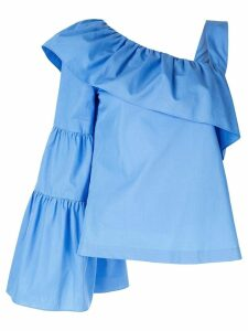 Goen.J ruffled asymmetric sleeve top - Blue