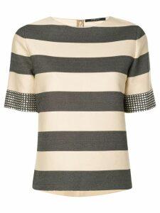 Derek Lam Studded Cuff Stripe Top - Black
