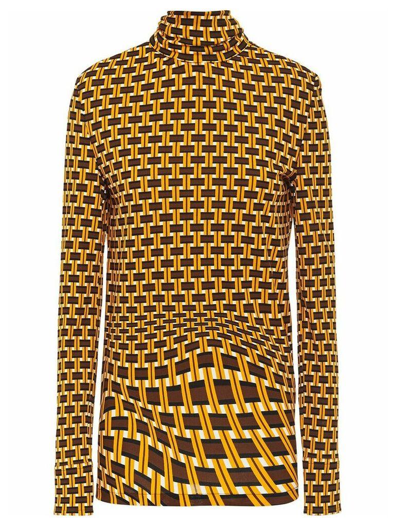 Prada geometric printed turtleneck blouse - Yellow