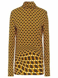 Prada geometric printed turtleneck blouse - Yellow