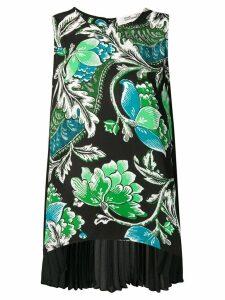 Diane von Furstenberg tiger lily print pleated back blouse - Black
