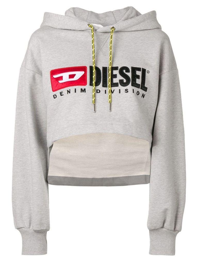 Diesel logo cropped hoodie - Grey